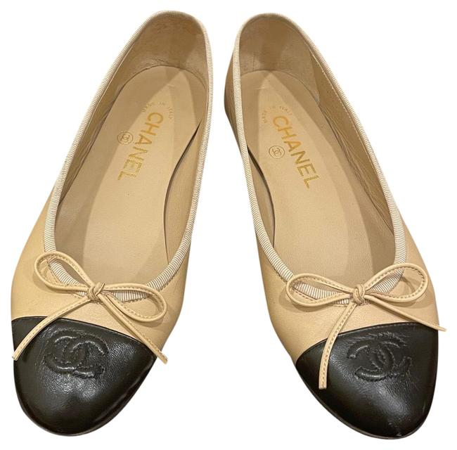 Item - Black Beige Ballerina Flats Size EU 37 (Approx. US 7) Regular (M, B)
