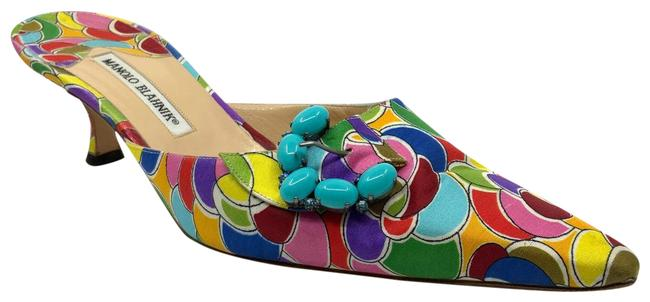 Item - Multicolor Printed Silk with Turquoise Stone Buckles Mules/Slides Size US 11 Regular (M, B)