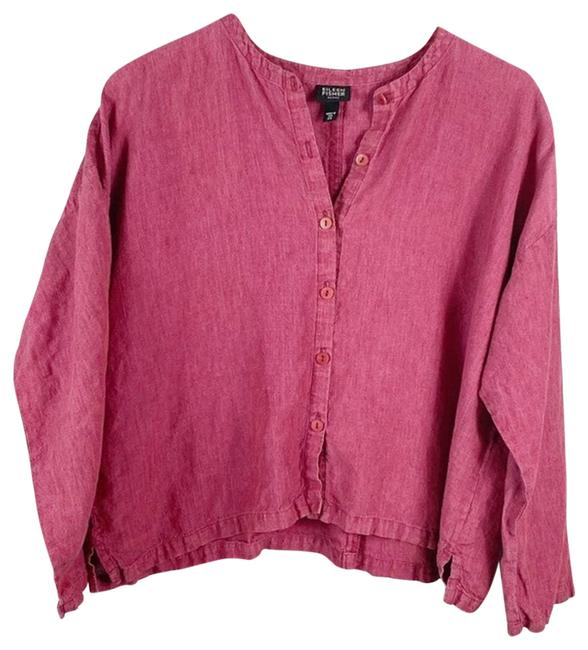 Eileen Fisher Pink Linen Cropped Button Up Blouse Small Button-down Top Size Petite 6 (S) Eileen Fisher Pink Linen Cropped Button Up Blouse Small Button-down Top Size Petite 6 (S) Image 1