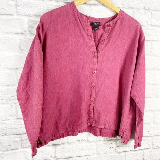 Eileen Fisher Pink Linen Cropped Button Up Blouse Small Button-down Top Size Petite 6 (S) Eileen Fisher Pink Linen Cropped Button Up Blouse Small Button-down Top Size Petite 6 (S) Image 3