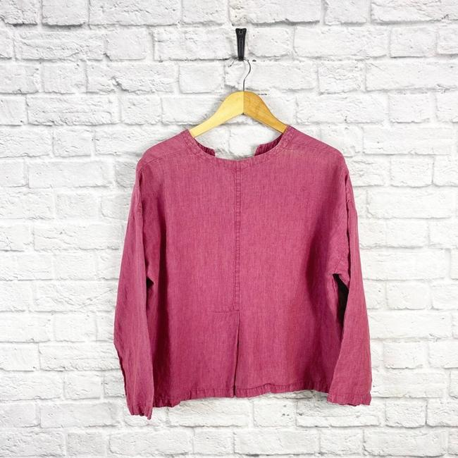 Eileen Fisher Pink Linen Cropped Button Up Blouse Small Button-down Top Size Petite 6 (S) Eileen Fisher Pink Linen Cropped Button Up Blouse Small Button-down Top Size Petite 6 (S) Image 4