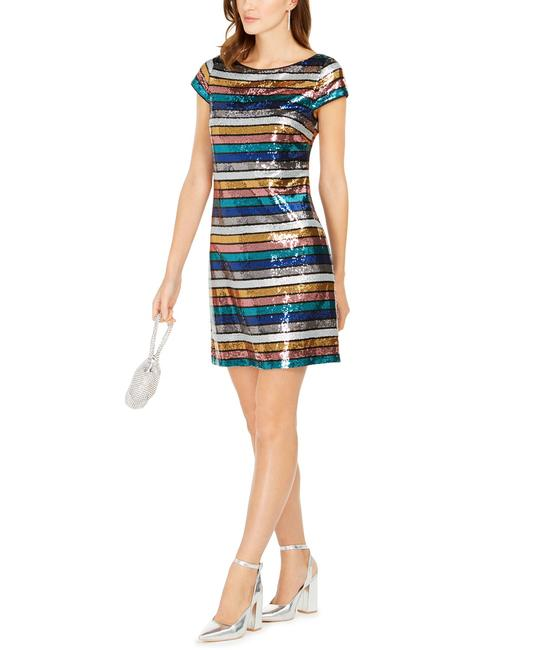 Item - Multicolor Sequined Striped Short Cocktail Dress Size 12 (L)