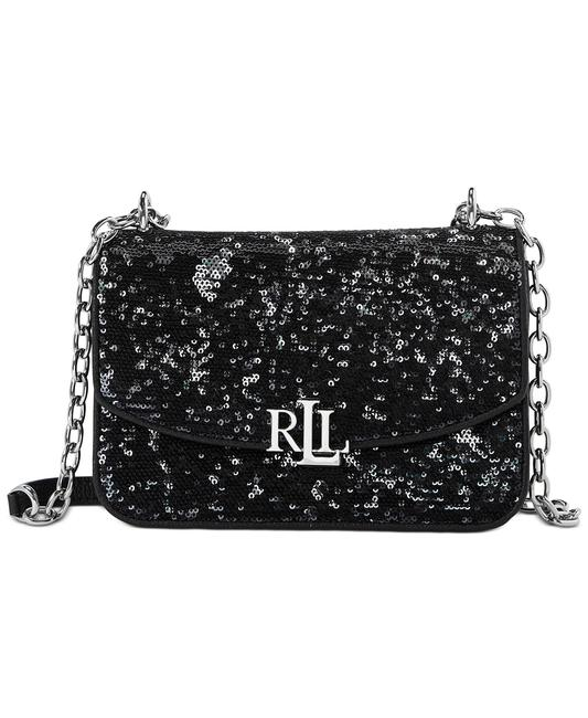 Item - Madison Sequined Black Leather Cross Body Bag