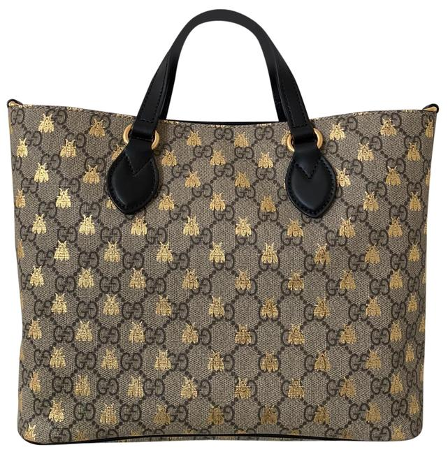 Item - Gg Supreme Bees Ebony/Beige/Gold Coated Canvas and Leather Satchel