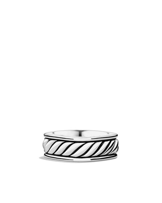 Item - Silver Sculpted Cable Narrow Square Band Ring
