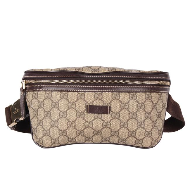 Item - Gg Leather Fanny Pack 9602 Brown Canvas Weekend/Travel Bag