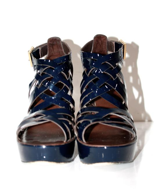 Tory Burch Blue Patent Leather Wedges Size US 7.5 Regular (M, B) Tory Burch Blue Patent Leather Wedges Size US 7.5 Regular (M, B) Image 4