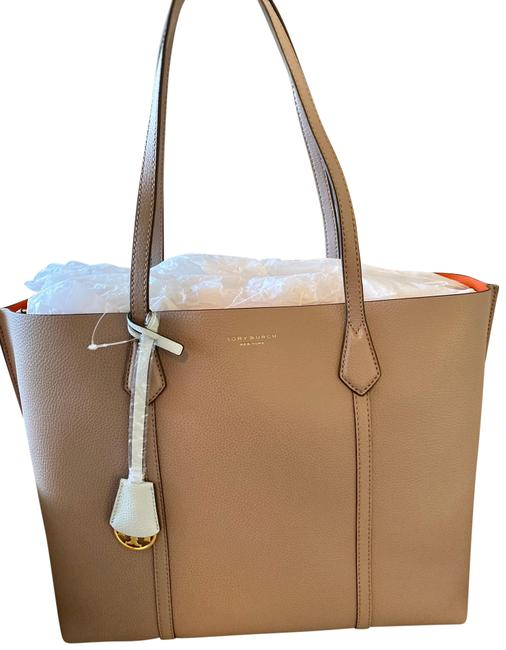 Item - Perry Triple-compartment Gray Heron Leather Tote