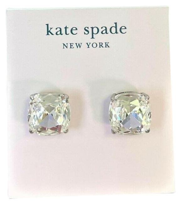 Item - Clear Silver Square Stud Earrings
