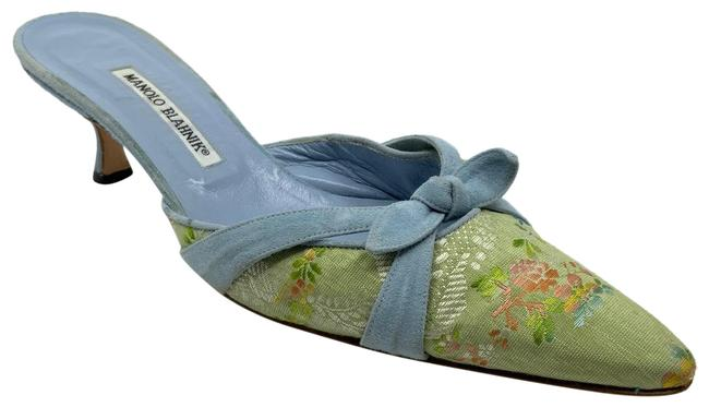 Item - Mint/Blue Verona Mint/Blue Tapestry with Suede Bow Trim Mules/Slides Size US 11 Regular (M, B)