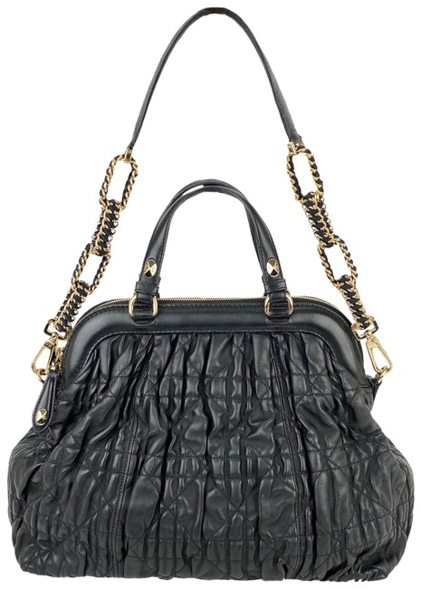 Item - Quilted Gaufre Cannage Delices B230 Tote Black Lambskin Leather Shoulder Bag