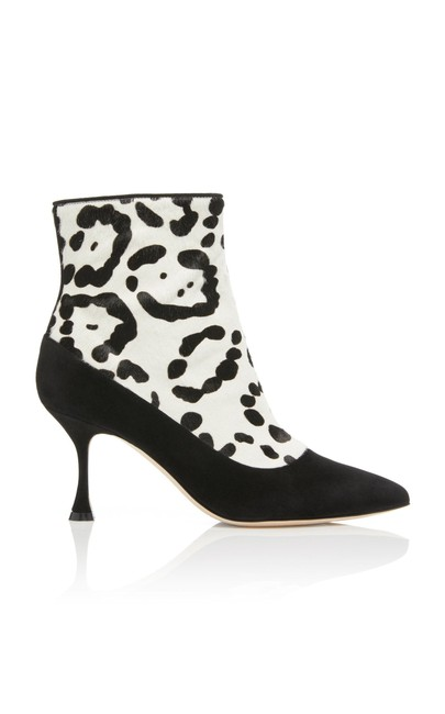 Manolo Blahnik Black/White Dolorov Suede and Leopard-print Calf Hair Boots/Booties Size EU 39.5 (Approx. US 9.5) Regular (M, B) Manolo Blahnik Black/White Dolorov Suede and Leopard-print Calf Hair Boots/Booties Size EU 39.5 (Approx. US 9.5) Regular (M, B) Image 1