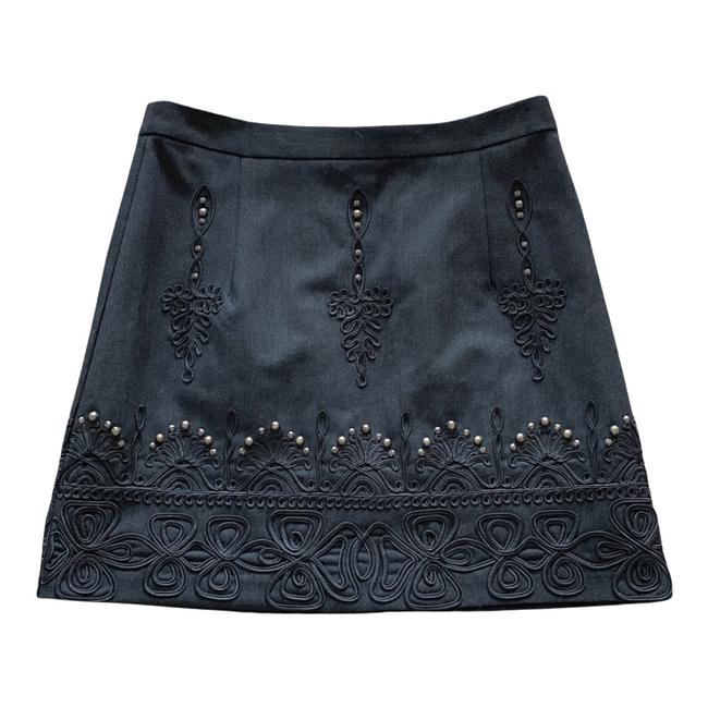 Item - Gray Embroidered Studded Skirt Size 2 (XS, 26)