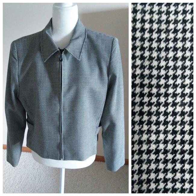 Item - Black and White Herringbone Vtg Blazer Black/White 14p Pant Suit Size Petite 14 (L)