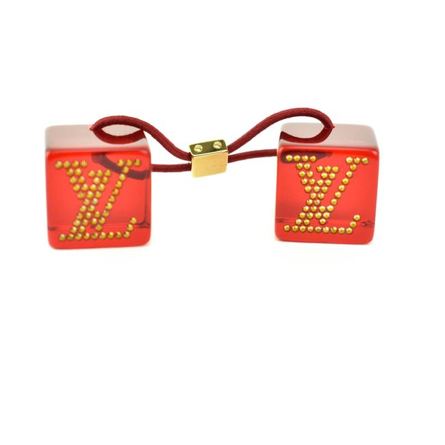"Item - Red & Gold Crystals ""Lv"" Logo Tie/Ponytail Holder (Mt) Hair Accessory"