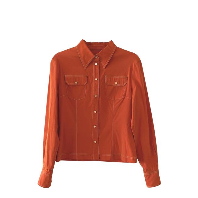 Item - Metallic Orange Shirt Us S Button-down Top Size 4 (S)