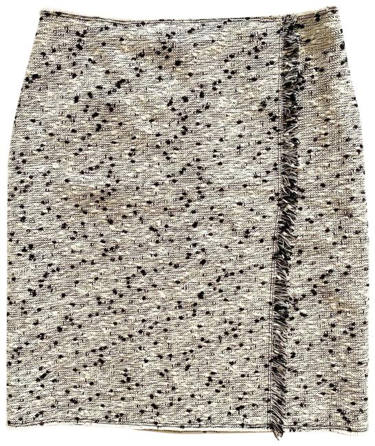 Item - Tweed Boucle Textured Frayed Raw Edge Faux Wrap Skirt Size 6 (S, 28)