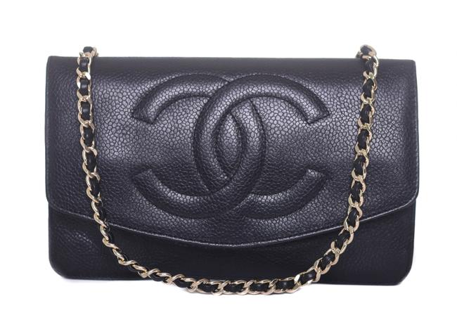 Item - Timeless Wallet on Chain Gold Caviar Woc Flap Purse Black Leather Cross Body Bag