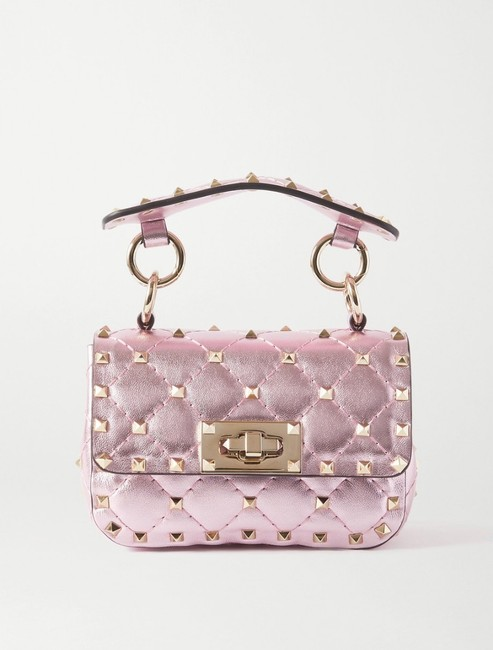 Item - Rockstud Spike Micro Quilted Metallic Pink Leather Cross Body Bag