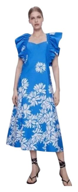 Item - Blue and White Mexican Party Long Casual Maxi Dress Size 8 (M)