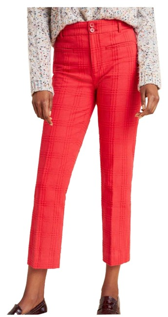 Item - Red Essential Slim Jacquard Trousers Ankle Pants Size 16 (XL, Plus 0x)