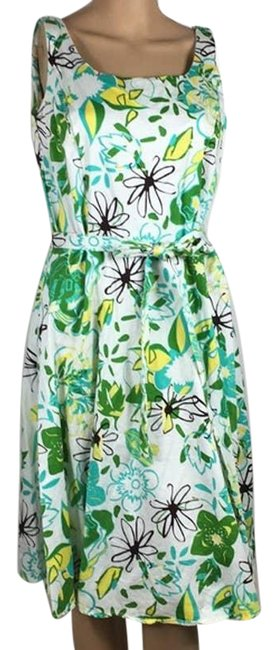 Item - Green Vintage Retro Bight Color Floral Short Casual Dress Size 10 (M)