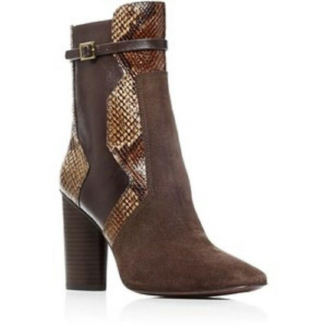 Item - Brown Renault Suede Leather and Embossed Snake Print Boots/Booties Size US 6 Regular (M, B)