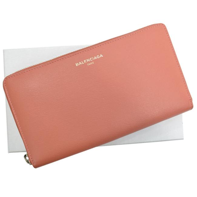 Item - Salmon Pink Long Silver Leather Round Zipper Ladies Wallet