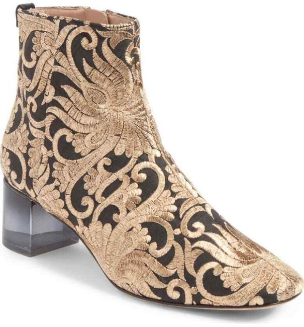 Item - Black Gold Embroidered Ankle Boots/Booties Size US 7 Regular (M, B)