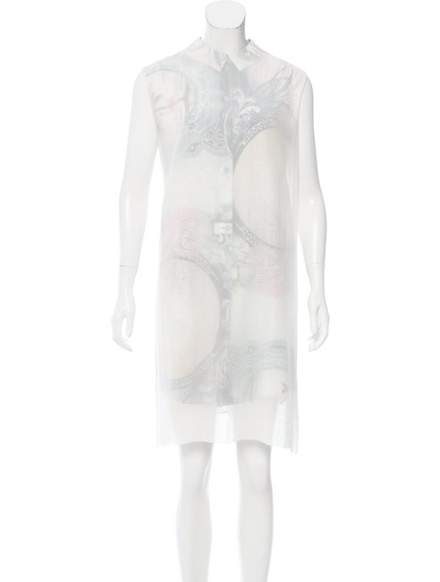 Item - White- Multi Silk Mid-length Night Out Dress Size 8 (M)