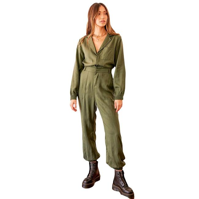 Item - Olive Completely Cool Long Sleeve Utility Romper/Jumpsuit