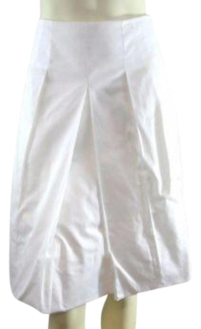 Item - White Cannes Pleated Cotton A-line Skirt Size 10 (M, 31)