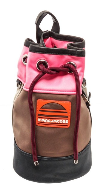 Item - Drawstring Colorblock Sport Sling Pink Leather Backpack