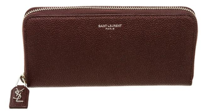 Item - Burgundy Ysl Mulberry Grain De Poudre Leather Zip Wallet