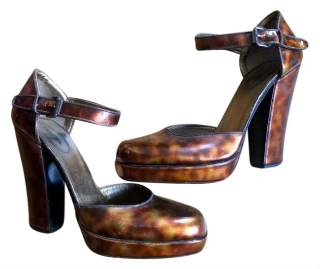 Item - Brown Vintage Tortoise Colored Mary Jane with Ankle Strap. Platforms Size EU 37 (Approx. US 7) Regular (M, B)