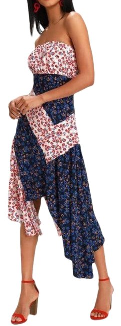 Item - Red Blue Floral Asymmetrical Handkerchief Mid-length Casual Maxi Dress Size 10 (M)
