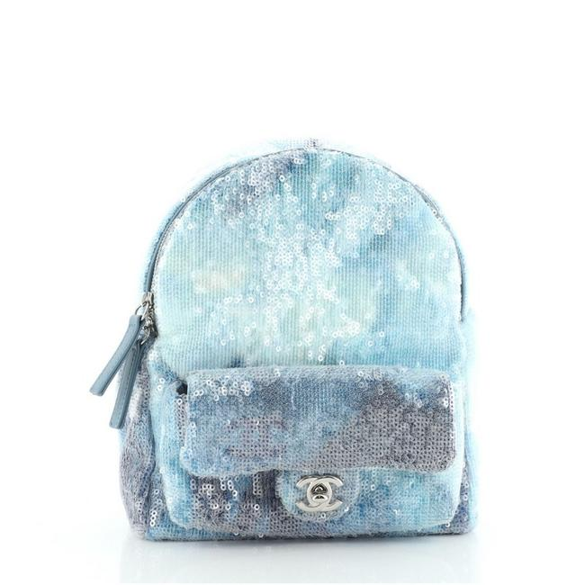 Item - Waterfall with Leather Mini Blue Print Sequins Backpack