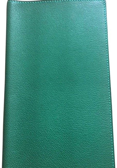 Item - Green Leather Agenda Cover Wallet