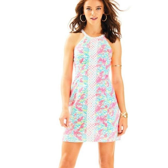 Item - White Pink and Blue Pop Up Lobstah Roll Resort Pearl Shift 28559 Short Cocktail Dress Size 10 (M)