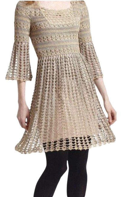 Item - Gold Tan Leifnotes Embroidered Knit Mid-length Short Casual Dress Size 8 (M)