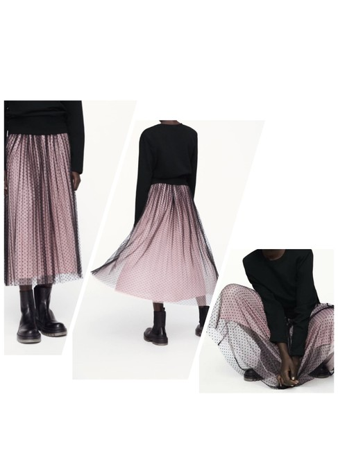 Item - Pink/Black XS Contrasting Dotted Mesh Skirt Size 2 (XS, 26)