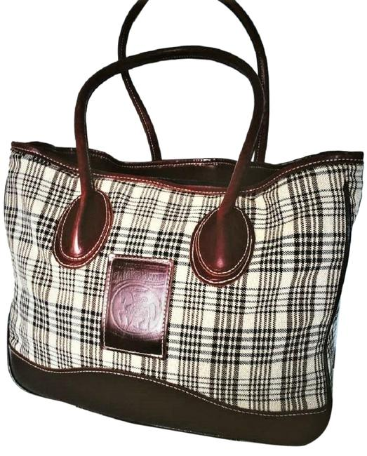 Item - 5/A Plaid Leather Trim Brown/Tan Fabric Tote