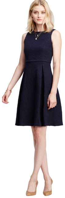 Item - Blue Floral Textured Woven Cotton Fit And Short Work/Office Dress Size 14 (L)