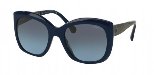 Item - Navy Blue and Gunmetal Ch 5347 1426/S2 54mm Oversize Square Cat Eye Sunglasses