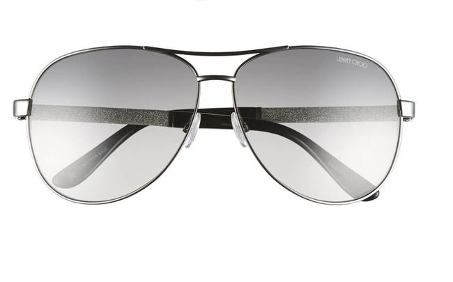 Item - Black Gunmetal and Silver Lexie/S Wghic 61mm Glitter Dusted Silk Wrapped Sparkle Aviators Sunglasses