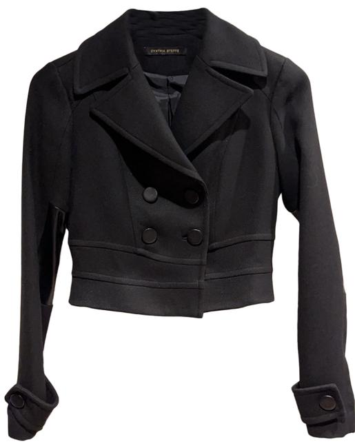 Item - Black Cropped Wool Leather Accents Blazer Size 2 (XS)