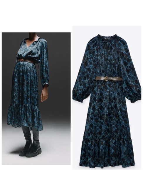 Item - Multicolor Snake Printed with Belt Mid-length Casual Maxi Dress Size 6 (S)