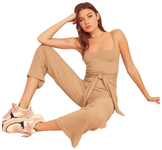Item - Tan XL Ribbed Buff Romper/Jumpsuit
