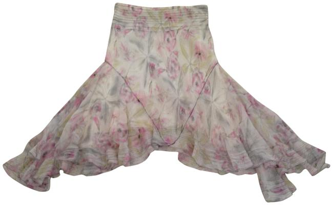 Item - Pink/ White/ Grey Print Special Edition Silk Chiffon High -low Skirt Size 2 (XS, 26)