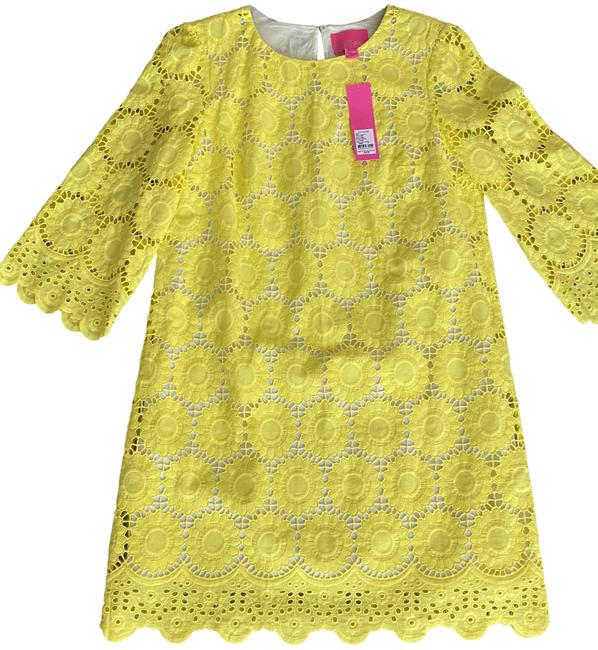 Item - Yellow Lilly's Lemon Marcella Floral Scallop Eyelet Short Casual Dress Size 8 (M)